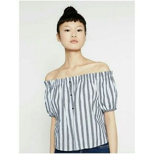 Zara Trafaluc Striped Off Shoulder Top button puff